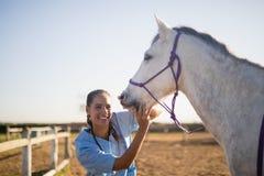 Lächelndes eaxmining Pferd des weiblichen Tierarztes an der Scheune Stockfotos