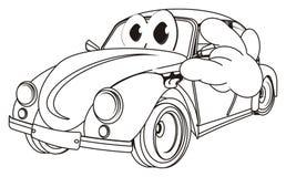 Lächelndes Färbungsauto mit Geste lizenzfreie abbildung