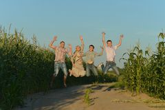 Lächelndes Familienspringen Stockbilder