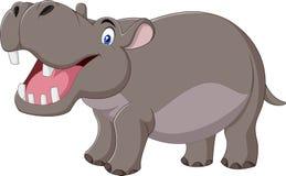 Lächelndes Flusspferd der Karikatur lokalisiert auf weißem Hintergrund Stockfotos