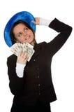 Lächelndes Geldmädchen Stockfoto