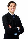 Lächelndes Geschäft des überzeugten Mannes stockbilder