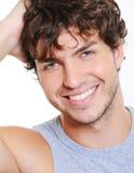 Lächelndes Gesicht eines schönen kaukasischen Mannes Stockfotos