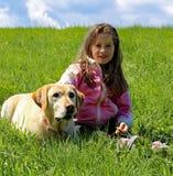 lächelndes kleines Mädchen auf dem Rasen mit dem Wachhund Stockbilder