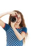 Lächelndes kleines Mädchen im Sternkleid Stockfoto