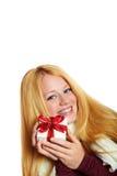 Lächelndes Mädchen auf Weihnachten Stockfotografie