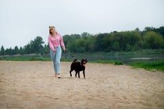 Lächelndes Mädchen, das mit Hund sich entspannt Labrador, das als Nächstes sitzt Stockbilder