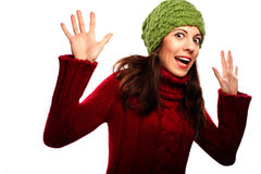 Lächelndes Mädchen in der Winterart Stockbild