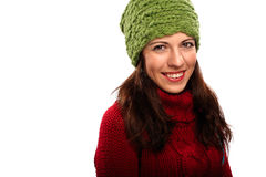 Lächelndes Mädchen in der Winterart Stockbilder