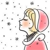 Lächelndes Mädchen genießt Schnee, vector Lizenzfreie Stockfotos