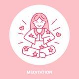 Lächelndes Mädchen im padmasana, Yogalinie Logo Ikone der Frauenmeditation, des Entspannung und der Liebesenergie Vektorillustrat Lizenzfreie Stockbilder