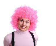Lächelndes Mädchen mit dem rosafarbenen Haar Lizenzfreies Stockfoto