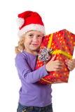 Lächelndes Mädchen mit Geschenkbox stockbilder