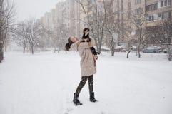Lächelndes Mädchen mit Hund im Winterschnee stockbild