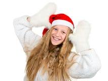 Lächelndes Mädchen in Sankt-Hut und in den weißen Handschuhen Stockfotografie