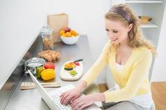 Lächelndes nettes blondes Schreiben auf ihrem Laptop Lizenzfreies Stockfoto