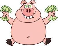 Lächelndes Rich Pig With Dollar Eyes-und Bargeld-Springen Lizenzfreies Stockfoto