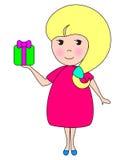 Lächelndes Schätzchen blondy mit Geschenk Stockfotos