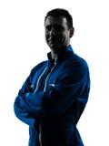 Lächelndes Schattenbild des Mann-Bauarbeiters Lizenzfreie Stockfotografie