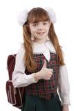 Lächelndes Schulemädchen. Ausbildung. OKAYzeichen. Lizenzfreie Stockfotografie