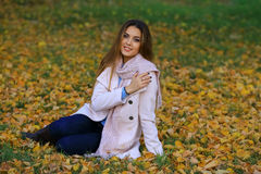 Lächelndes Sitzen der jungen Frau auf dem Gras im autum Ahorn-Gartenhintergrund des Falles gelber Stockfotos
