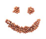 Lächelnform gemacht von den Haselnüssen lokalisiert lizenzfreies stockfoto