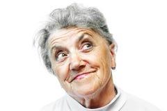 Lächelngesicht der alten Frau Stockfotografie