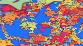 Lächelngesicht der Karikatur 4k spielt Hintergrund, Fünf-spitzen Stern, Spielwarenfeuerwerkspartikel die Hauptrolle lizenzfreie abbildung