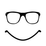 Lächelnikonen-Sonnenbrilletypographie auf weißem Hintergrund Stockfoto