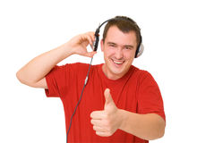 Lächelnmann in den Kopfhörern Lizenzfreie Stockbilder