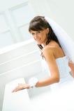 Lächelt Braut mit einem Schleier auf weißem im Freienbackgro Lizenzfreie Stockbilder