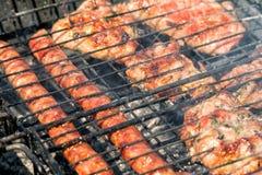 Läcker bbq-kebab som grillar på det öppna gallret, utomhus- kök smaklig mat som grillar på steknålar, mat-domstol Trevlig ny mat  Arkivfoton