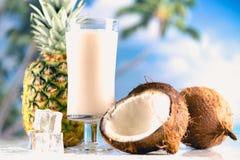 Läcker drink med kokosnöten och ananas arkivfoton