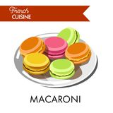 Läcker färgrik makaroni från fransk kokkonst på plattan stock illustrationer