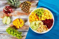 Läcker fruktsallad som läggas ut på segment Royaltyfria Bilder