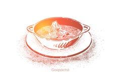 Läcker gazpacho, förnyande soppapuré med blandade grönsaker, gourmet- matställe, medelhavs- kokkonst stock illustrationer