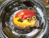 Läcker grönsaksmörgåsgroda fotografering för bildbyråer