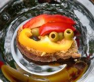 Läcker grönsaksmörgåsgroda royaltyfri fotografi