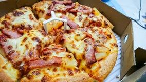 Läcker hawaiansk pizza i en kartong royaltyfria foton
