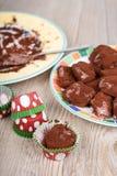 Läcker hemlagad bränd mandel för chokladtryffel Arkivfoton