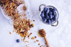 Läcker hemlagad granola royaltyfria bilder