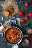 Läcker hemlagad soppa från den organiskt röda linsen, grönsaker, basilika, vitlök och stycke av svart bröd på den mörka stentabel royaltyfri foto