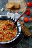 Läcker hemlagad soppa från den organiskt röda linsen, grönsaker, basilika, vitlök och stycke av svart bröd på den mörka stentabel royaltyfri bild