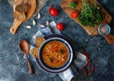 Läcker hemlagad soppa från den organiskt röda linsen, grönsaker, basilika, vitlök och stycke av svart bröd på den mörka stentabel royaltyfria foton