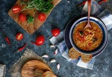 Läcker hemlagad soppa från den organiskt röda linsen, grönsaker, basilika, vitlök och stycke av svart bröd på den mörka stentabel royaltyfria bilder