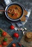 Läcker hemlagad soppa från den organiskt röda linsen, grönsaker, basilika, vitlök och stycke av svart bröd på den mörka stentabel arkivfoto