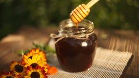 Läcker honung i krus på tabellen stock video