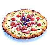 Läcker italiensk pizza över vit bakgrund Royaltyfria Bilder
