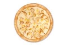 Läcker italiensk pizza med ananors och den fega filén som isoleras på vit bakgrund, bästa sikt arkivbilder