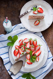 läcker jordgubbe för cake Royaltyfri Fotografi
